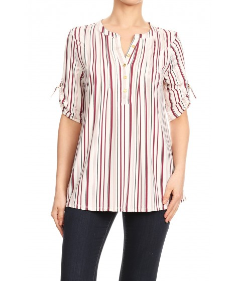 Wholesale Womens Missy Button Up Tops With 3/4 Rolled Up Sleeves