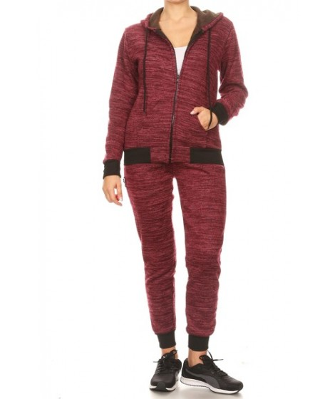 Wholesale Womens 2-Piece Sets Fur Lined Hoodies Jackets + Joggers Sweatpants