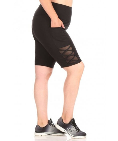Wholesale Womens Plus Size High Waist Tummy Control Biker Shorts With Side Pockets & Crossed Straps