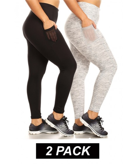 Wholesale Womens 2-Pack Plus Size Sport Leggings With Side Mesh Pockets