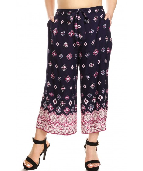 Wholesale Womens Plus Size Cropped Wide Leg Palazzo Pants With Waist Tie