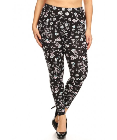 Wholesale Womens Plus Size Poly Brushed Print Leggings
