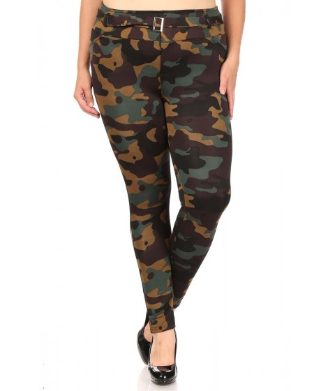 Wholesale Womens Plus Size Treggings Skinny Pants With Self Belt And Pockets