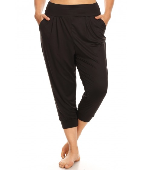 Wholesale Womens Plus Size Soft Brushed Cropped Harem Loose Fit Joggers