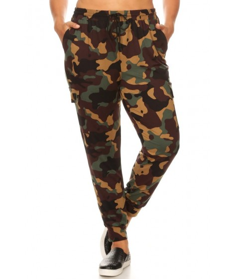 Wholesale Womens Plus Size Soft Brushed Cargo Joggers Sweatpants