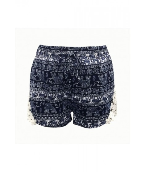 Wholesale Kids Printed Shorts With Side Panel Lace Applique