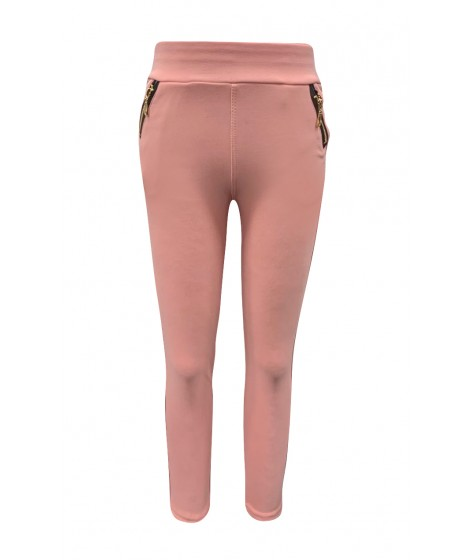 Wholesale Big Kids Solid Treggings Skinny Pants With Zipper Pockets Detail