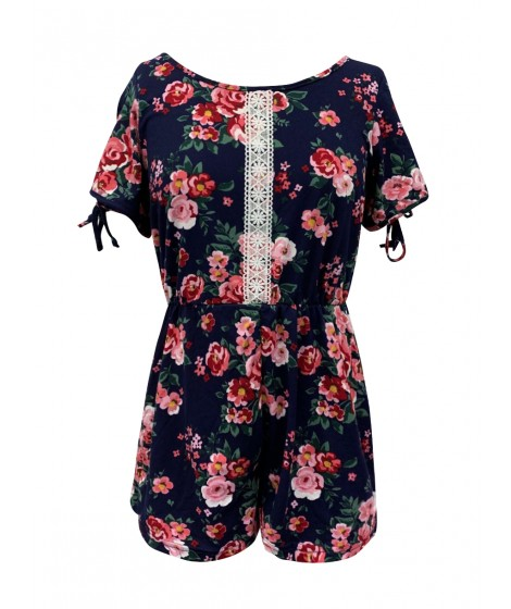Wholesale Big Kids Soft Brushed Rompers With Short Sleeves & Front Crochet Lace Detail