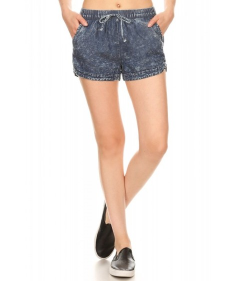 Wholesale Womens Acid Wash Shorts With Faux Tie