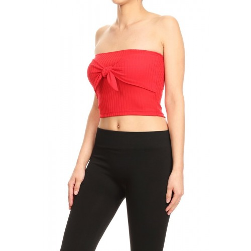 5499e9580ef Wholesale Womens Rib Knit Cropped Tube Top With Front Bow Detail ...