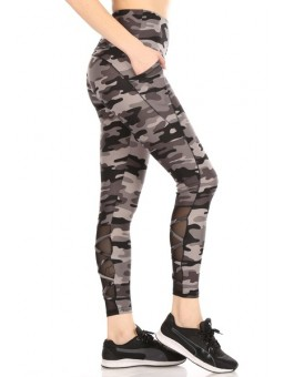 Wholesale Womens High Waist Tummy Control Sports Leggings With Pockets & Mesh Panels With Crossed Straps
