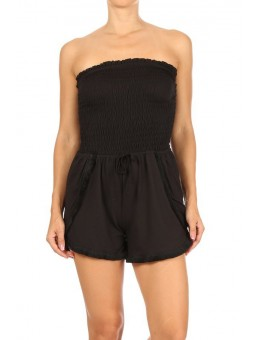 Wholesale Womens Smocked Tube Top Rompers With Overlap Fringe Trim