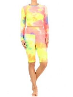 Wholesale Womens 2-Piece Sports Sets Fitted Textured Long Sleeve Tops + Matching High Waist Butt Scrunch Biker Shorts