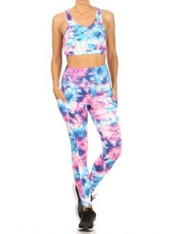 Wholesale Womens 2-Piece Set Crop Tops & High Rise Tummy Control Sports Leggings With Side Pockets