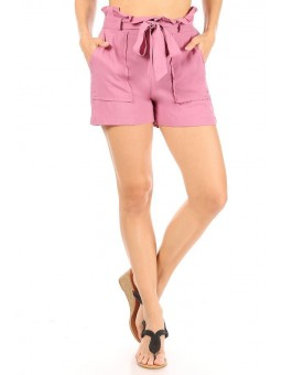 Wholesale Womens Paperbag Waist Shorts With Belt & Pockets