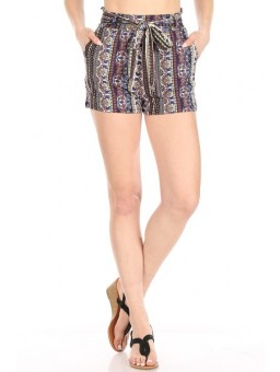 Wholesale Womens Soft Brushed Paperbag Waist Shorts With Waist Tie & Pockets