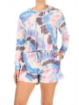 Wholesale Womens 2-Piece Sets French Terry Pull Over Cropped Hoodies + Matching High Waist Shorts