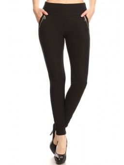 Wholesale Womens Solid Tregging Skinny Pants With Zippers