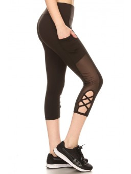 Wholesale Womens Capri Leggings With Side Pockets & Mesh Panels With Strap Details