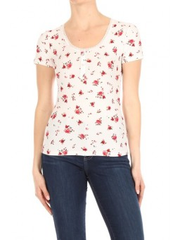 Wholesale Womens Rib Knit Short Sleeve Tops With Lace Trim & Front Button Detail