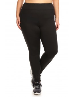 Wholesale Womens Plus Size High Waist Poly Brushed Fleece Lined Leggings