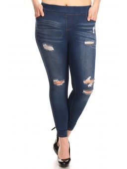 Wholesale Womens Plus Size Distressed Denim Jeggings Pants
