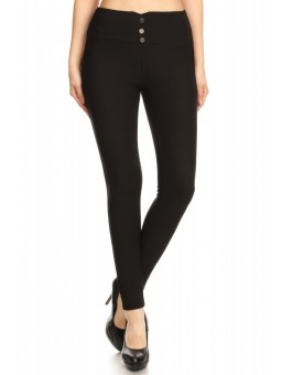 Wholesale Womens High Waist Front Metal Button Treggings Skinny Pants