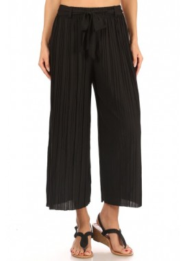Wholesale Womens Pleated Cropped Wide Leg Palazzo Culottes Pants With Belt