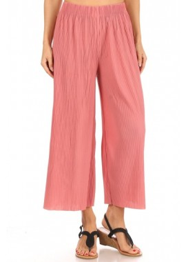 Wholesale Womens Micro Pleated Cropped Wide Leg Palazzo Culottes Pants