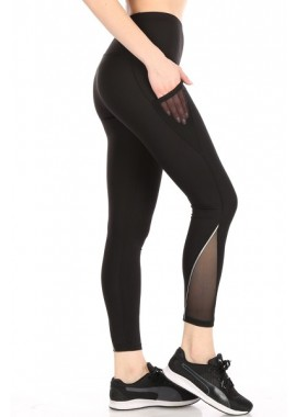 Wholesale Womens High Waist Tummy Control Sports Leggings With Side Mesh Pockets & Reflective Leg Detail