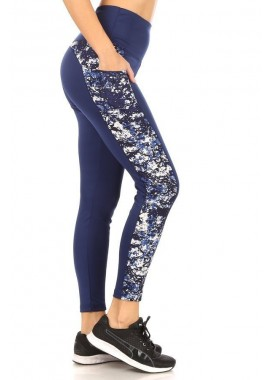 Wholesale Womens High Waist Tummy Control Sports Leggings With Contrast Side Phone Pockets