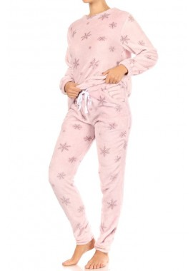 Wholesale Womens 2-Piece Double Side Plush Pullover + Joggers Pajamas Set
