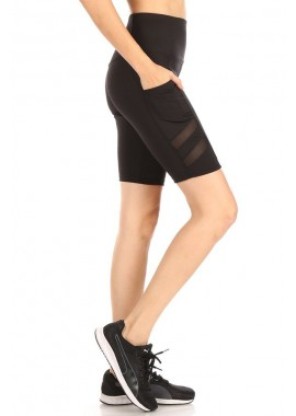 Wholesale Womens High Waist Tummy Control Biker Shorts With Side Mesh Panels & Pockets