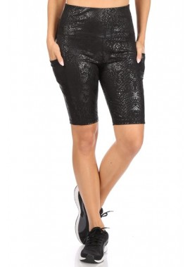 Wholesale Womens High Waist Tummy Control Biker Shorts With Side Pockets