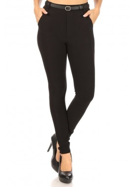 Wholesale Womens High Waist Sculpting Treggings Skinny Pants With Faux Leather Belt