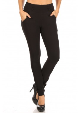 Wholesale Womens High Waist Sculpting Treggings Skinny Pants With Button Waist & Pockets