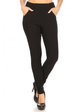 Wholesale Womens Fur Lined High Waist Sculpting Treggings Skinny Pants With Button Waist & Pockets