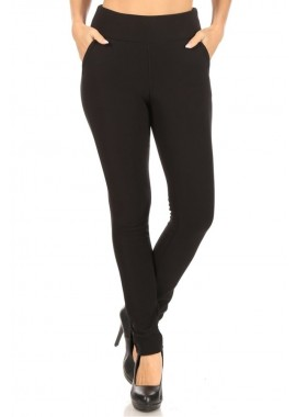 Wholesale Womens Fur Lined High Waist Sculpting Treggings Skinny Pants With Front Pockets