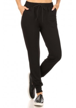Wholesale Womens Soft French Terry Joggers Sweatpants With Shoe Lace Tie