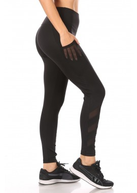 Wholesale Womens Tummy Control Sculpting Leggings With Pockets & Mesh Panels