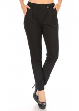 Wholesale Womens Textured Knit Crepe Asymmetrical Front Flap Pleated Pants
