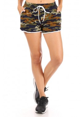 Wholesale Womens Stretch Knit Track Shorts With Waist Tie & Pockets