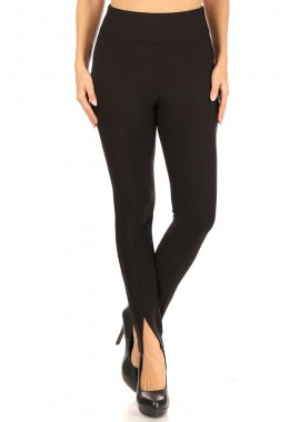 Wholesale Womens High Waist Treggings Skinny Pants With Front Leg Slits