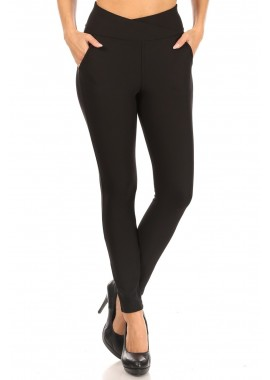 Wholesale Womens Overlap Waist Sculpting Treggings Skinny Pants With Pockets
