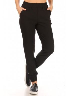 Wholesale Womens Shirred Waist & Cuff Jogger Pants With Pockets
