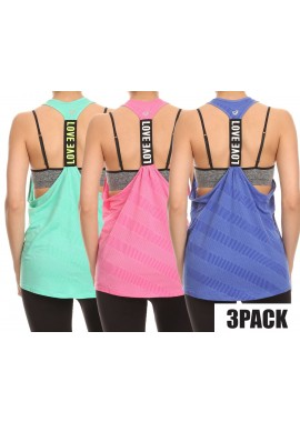 Wholesale Womens 3 Packs Bundle:Racerback Sports Trainning Tank Tops