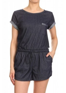Wholesale Womens Short Sleeves Stretchy Denim Rompers