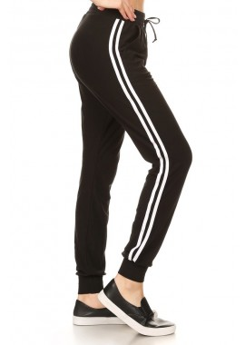 Wholesale Womens Poly Brushed Jogger with Contrast White Stripes