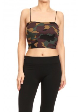 Wholesale Womens Spaghetti Strap Camo Printed Crop Tops