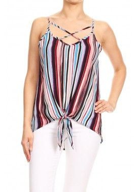 Wholesale Womens Strappy V-Neck Cami Top With Front Tie